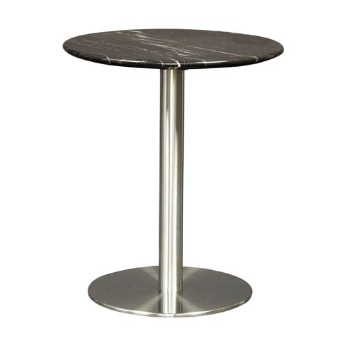 Eurostyle Tammy Round Side Table In Black Marble With Brushed