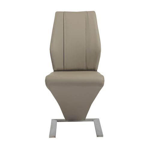 Formosa Side Chair in Taupe and Brushed Stainless Steel - Set of 2