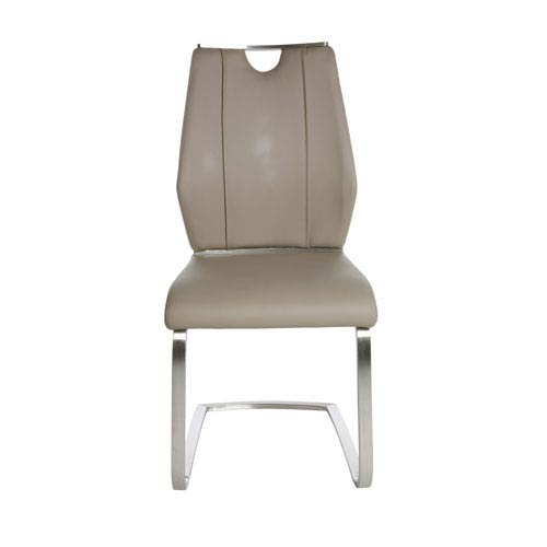 Lexington Side Chair in Taupe and Brushed Stainless Steel - Set of 2