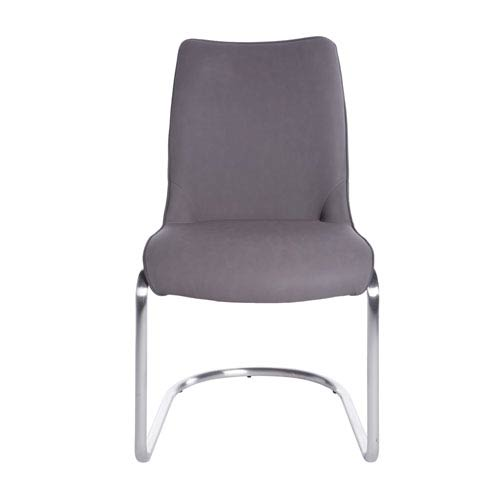 Stephanie Side Chair in Gray and Brushed Stainless Steel - Set of 2