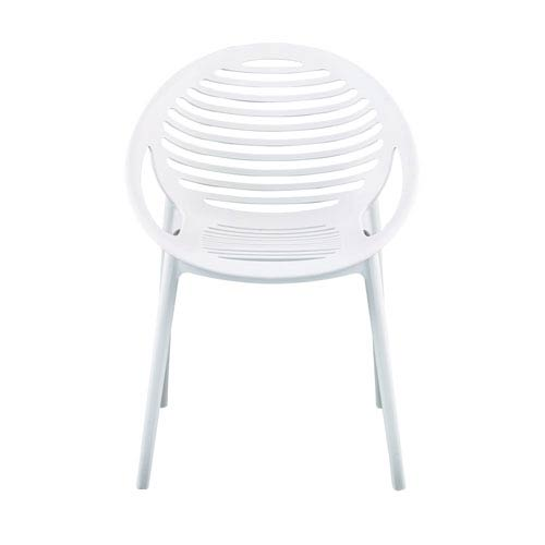 Lima Stacking Arm Chair in White Polypropylene - Set of 4