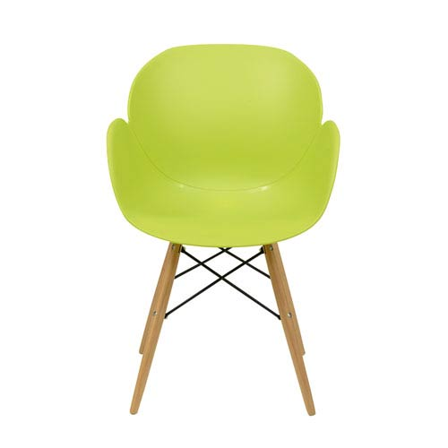 Penny Arm Chair in Green Polypropylene - Set of 4