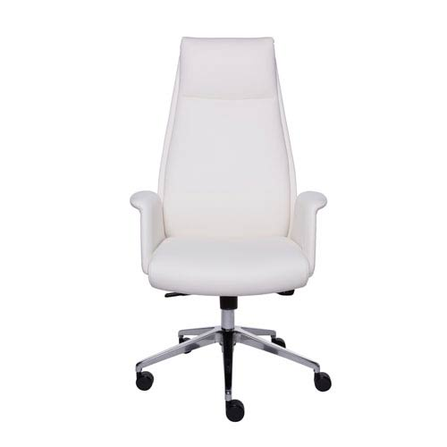 Eurostyle Ilaria High Back Office Chair in White and Polished Aluminum