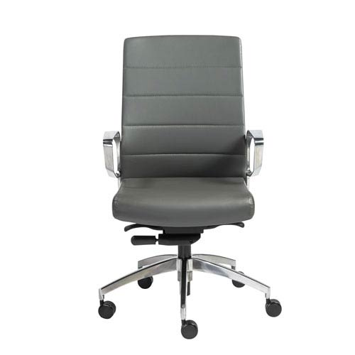 Eurostyle Gotan Low Back Office Chair in Gray with Polished Aluminum Base