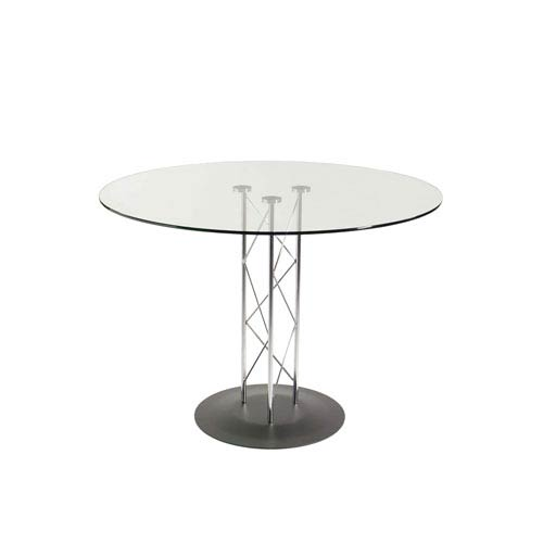 Trave 42-inch Round Dining Table in Clear Tempered Glass with Chrome Column and Black Base