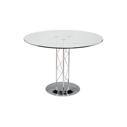 Trave 42-inch Round Dining Table in Clear Tempered Glass with Chrome Column and Chrome Base