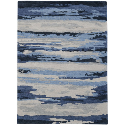 Abstract Blue Rectangle 9 Ft. x 13 Ft. Rug