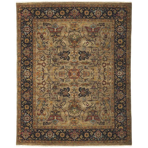 Amer Rugs Antiquity Camel and Blue Rectangular: 6 Ft. x 9 Ft. Rug