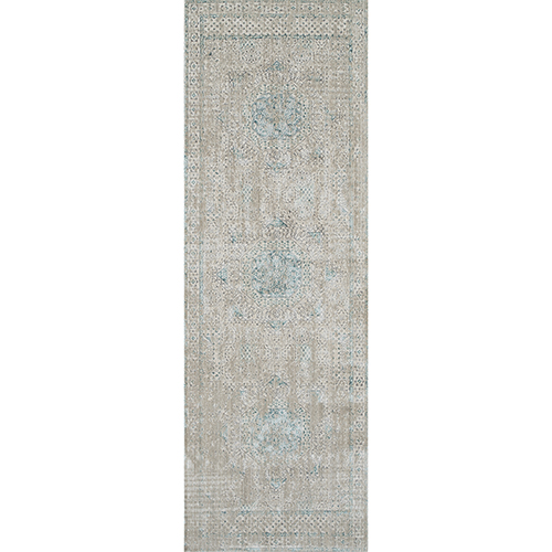 Amer Rugs Cambridge Ivory And Aqua Runner 2 Ft 6 In X 8 Ft Rug
