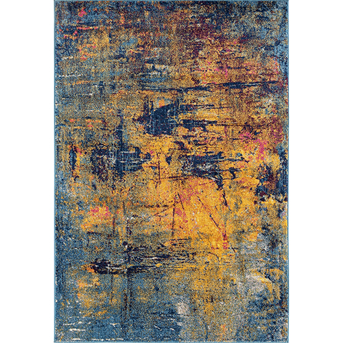 Manhattan Orange and Navy Rectangular: 7 Ft. 6 In. x 9 Ft. 6 In. Rug