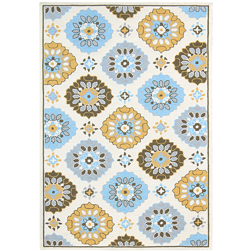Piazza Yellow and Blue Indoor/Outdoor Rectangular: 5 Ft. x 7 Ft. 6 In. Rug