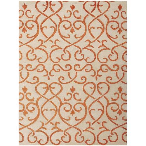Amer Rugs Studio Moore Design White and Orange Rectangular: 2 Ft. x 3 Ft. Rug