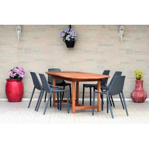 Amazonia Teak Extendable Oval Patio Dining Table Set, 7-Piece