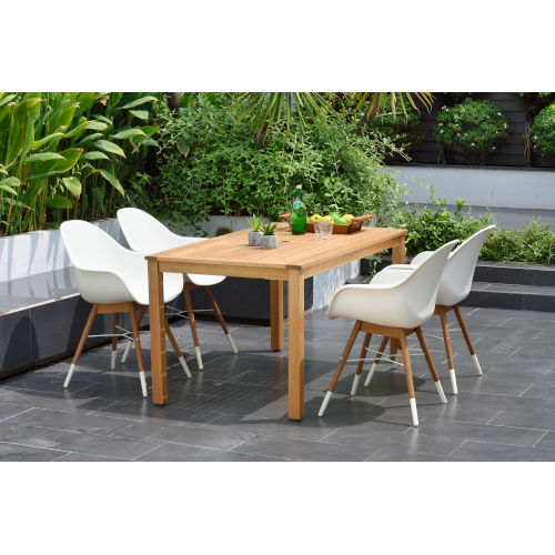 Amazonia Teak 59-Inch Rectangular Dining Table Set, 5-Piece