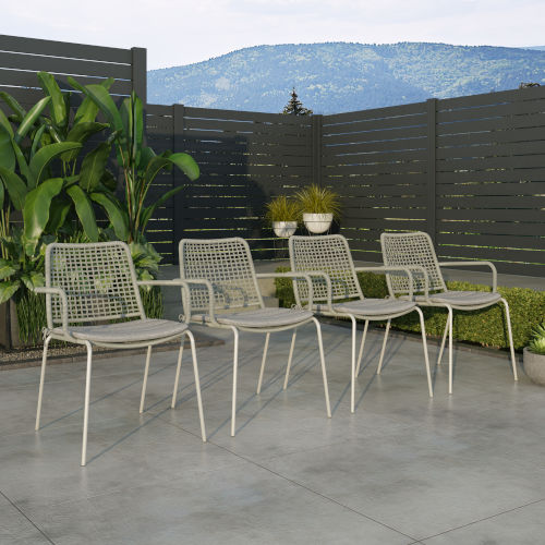 Amazonia Gray Chair Set with Rope Seats, 4-Piece