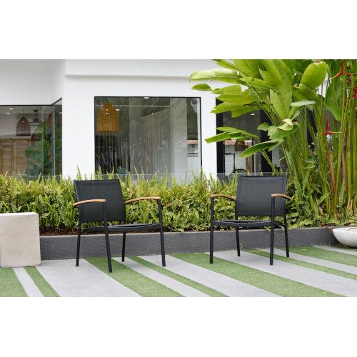 Amazonia Teak Deluxe Stacking Sofa Chairs, Set of 2