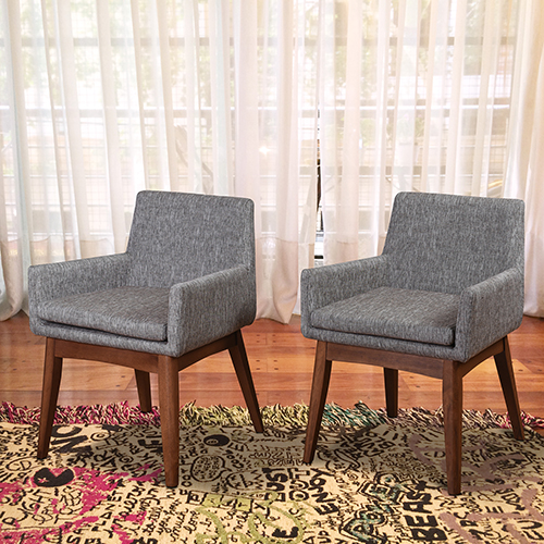 Midtown Concept Ruby 2 Piece Grey Armchair Set