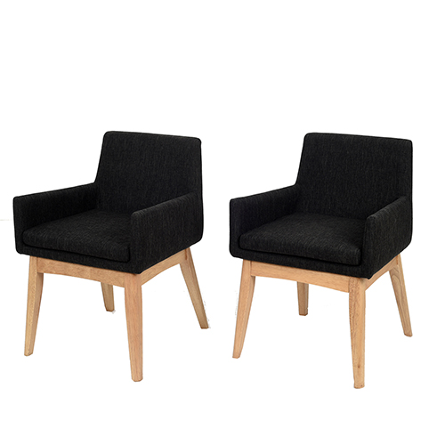 Midtown Concept Ruby 2 Piece Black Armchair Set