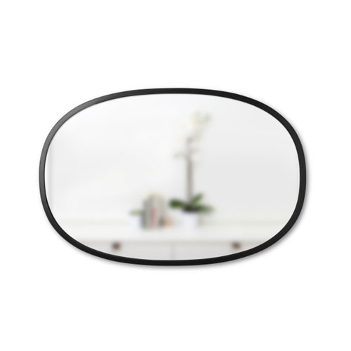 Hub 24 In. Black Oval Wall Mirror