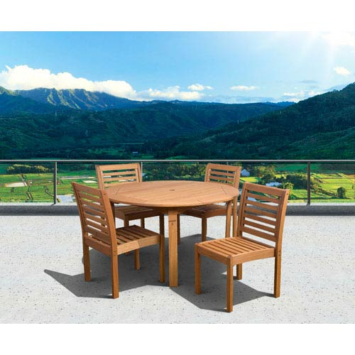 Amazonia Eucalyptus Five-Piece Armless Round Dining Set