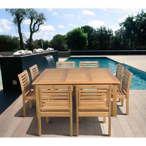 International Home Miami Amazonia Eucalyptus Nine-Piece Armless Square Dining Set
