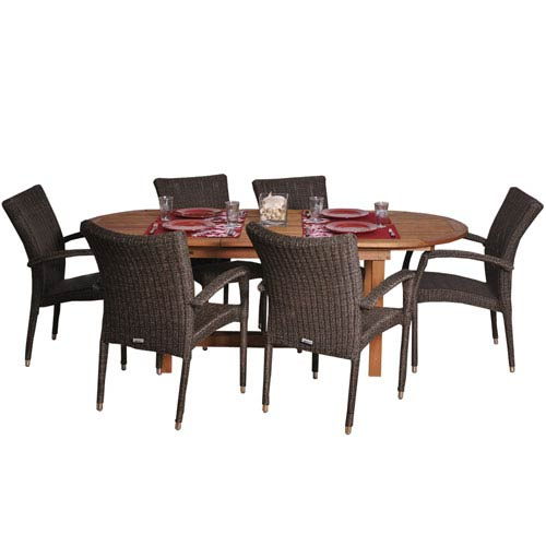International Home Miami Le Mans Seven-Piece Dining Set Deluxe