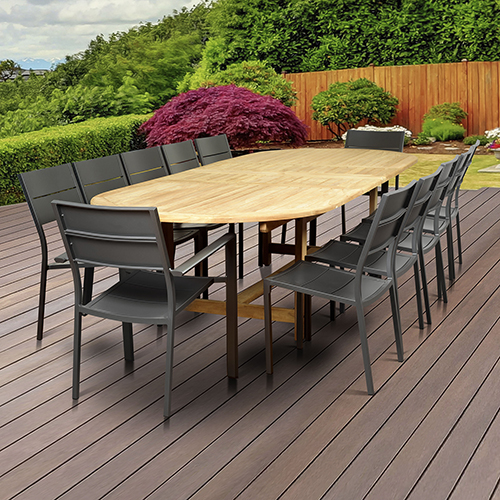 Amazonia Koningsdam 13 Piece Teak Double Extendable Rectangular Patio Dining Set