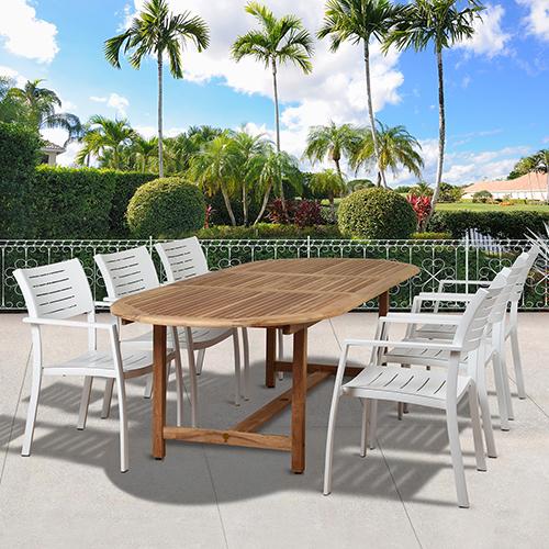 International Home Miami Amazonia Noordam 7 Piece Teak Oval Patio Dining Set
