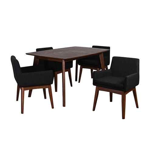 International Home Miami Ruby Mid-Century 5 Piece Dining Set, Liqurice Textile Fabric