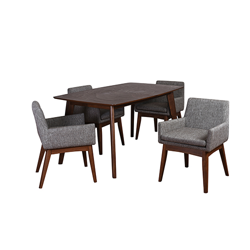 Ruby Mid-Century 5 Piece Dining Set, Coral Textile Fabric