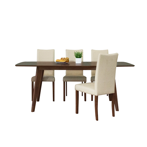 Tatiana Mid Century 5 Piece Dining Set, Cream Leather