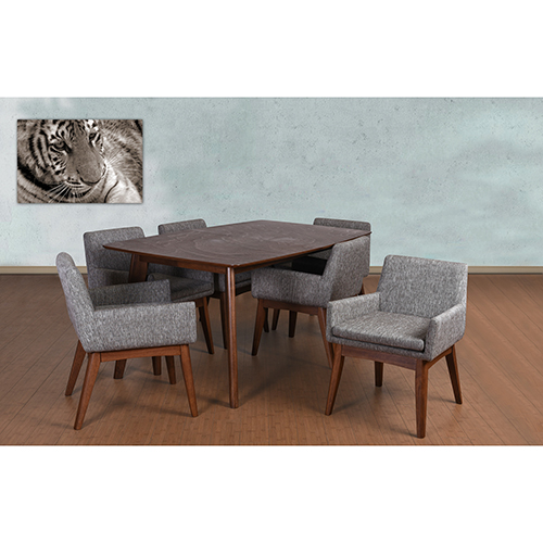 Ruby Mid-Century 7 Piece Dining Set, Coral Textile Fabric