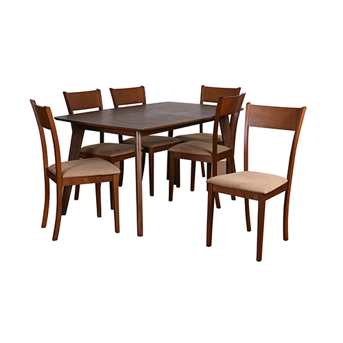 Claire Mid-Century 7 Piece Extendable Dining Set, Brown