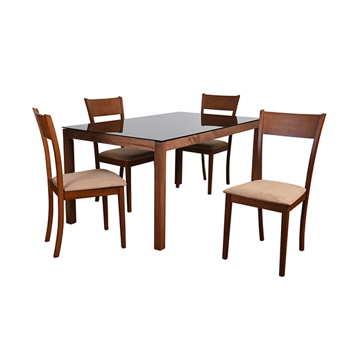 Claire Mid-Century 5 Piece Dining Set, Brown