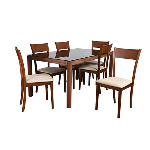 Claire Mid-Century 7 Piece Dining Set, Sand