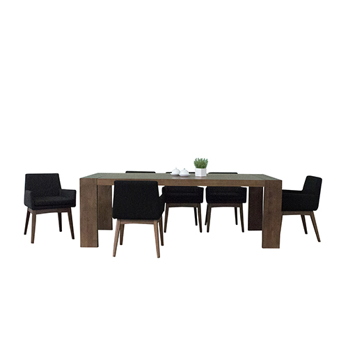 Ruby Deluxe Mid Century 7 Piece Dining Set, Liqurice Textile Fabric