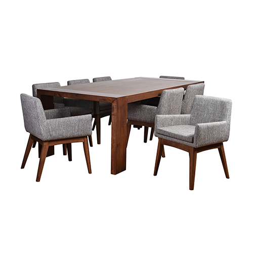 International Home Miami Ruby Deluxe Mid-Century 9 Piece Dining Set, Coral Textile Fabric