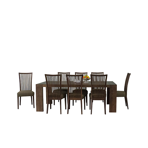 Cynthia Deluxe Mid-Century 9 Piece Dining Set, Latte Textile
