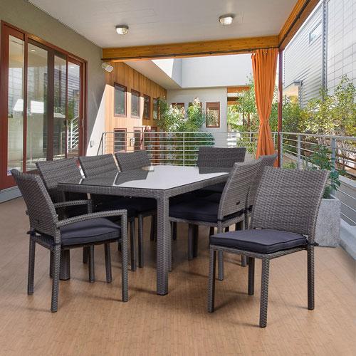 International Home Miami Atlantic Liberty 9 Piece Rectangular Patio Dining Set, Grey