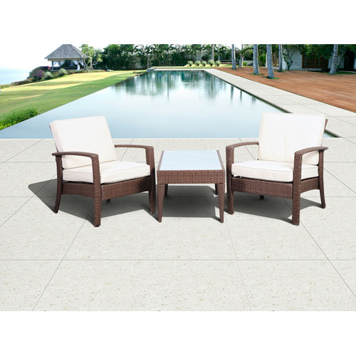 International Home Miami Atlantic Corfu Deluxe Brown Three-Piece Wicker Conversation Set with Off-White Cushions