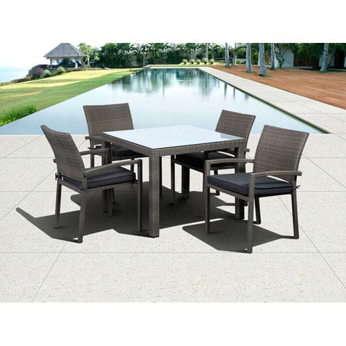 International Home Miami Atlantic Liberty Grey Five-Piece Square Dining Set with Grey Cushions