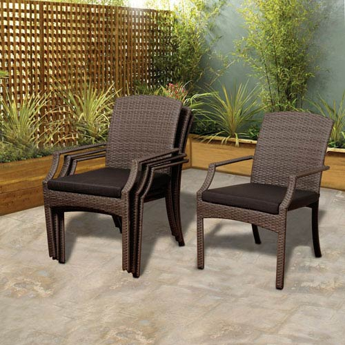 Atlantic Rolland 4 Piece Grey Synthetic Wicker Armchair Set with Grey Cushions