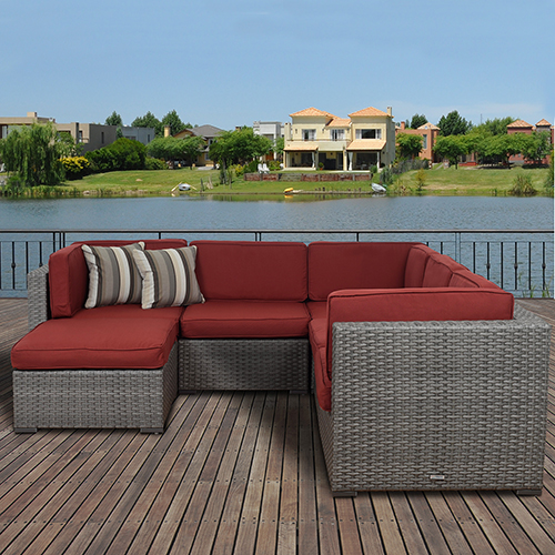 Bellagio 6 Piece Wicker Burgandy Patio Sectional Set