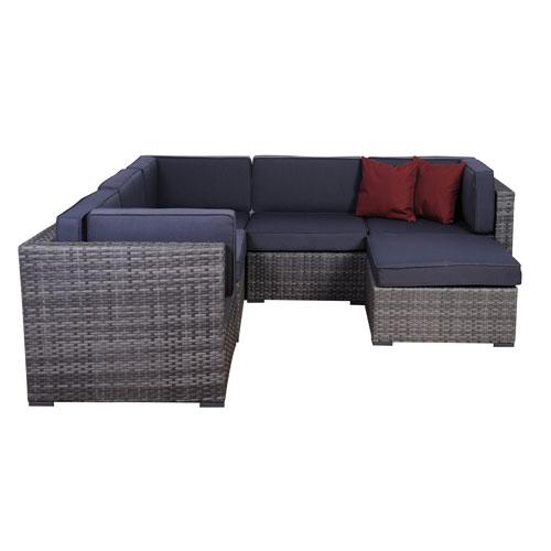 International Home Miami Bellagio Six-Piece Grey Wicker Seating Set with Grey Cushions