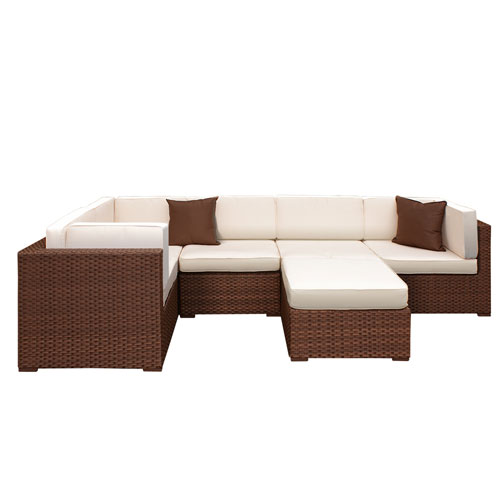 International Home Miami Bellagio Sectional Brown Synthetic Wicker Six-Piece Set With Off-white Cushions