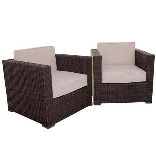 Bellagio Armchair Brown Synthetic Wicker Two-Piece Set With Off-White Cushions