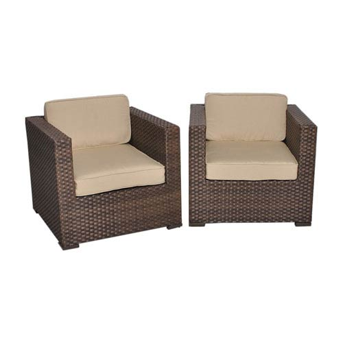 Bellagio Brown Synthetic Wicker Armchairs with Deluxe Cushions, Set of Two