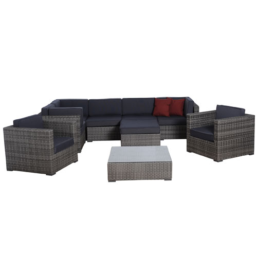 International Home Miami Southampton Nine-Piece Grey Wicker Seating Set with Off White Cushions