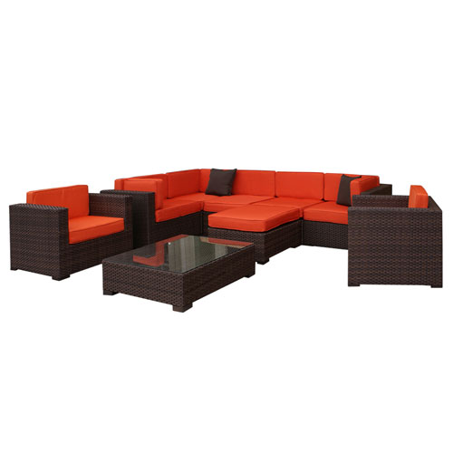 Southampton Sectional Brown Synthetic Wicker Nine-Piece Set With Orange Cushions