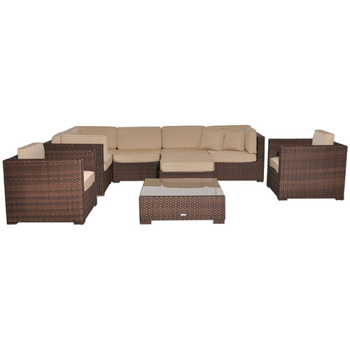 Southampton Sectional Brown Synthetic Wicker Nine-Piece Set With Deluxe Cushions
